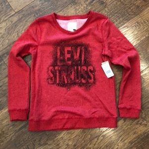 Levi's Red Gold Rivet Fleece Sweatshirt NWT's S